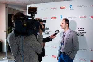 Veselin Topalov getting interviewed